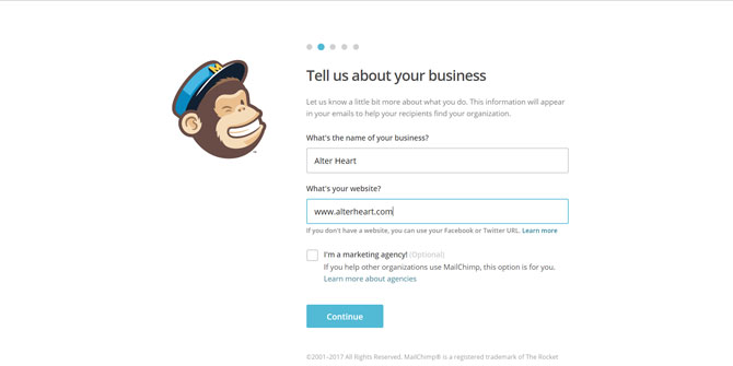 Mailchimp About Your Business