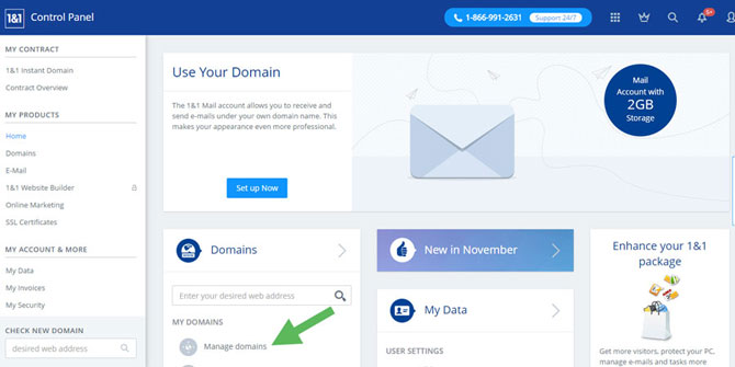 1and1 Domain Account