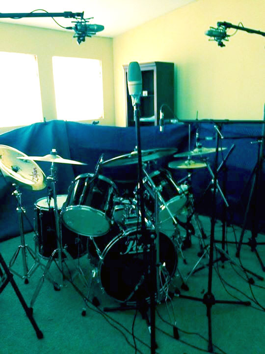 Moving Blankets Placed Around Drum Kit