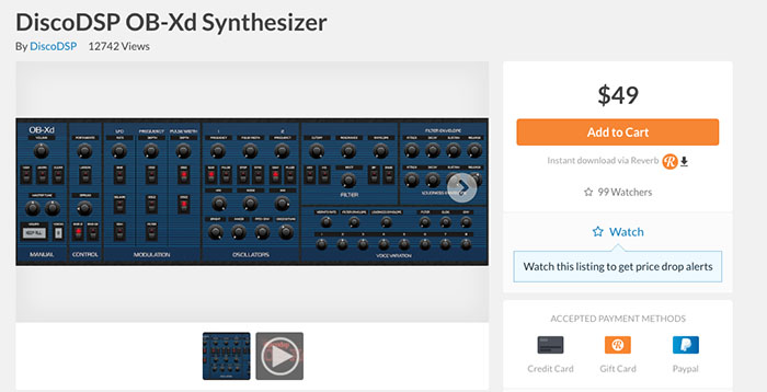 DiscoDSP OB-Xd Synthesizer