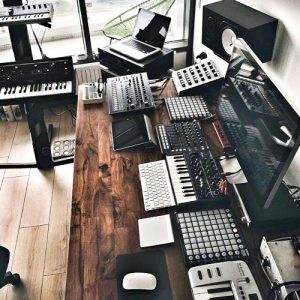 Dark Wood Desk Home Studio